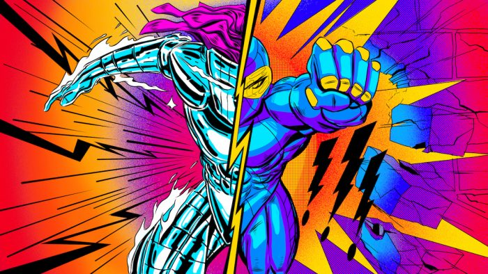 Vibrant superhero illustration that represents the power of two sides working together in collaboration